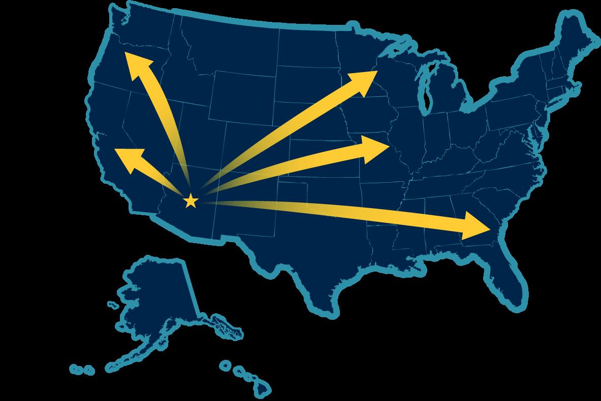 US Map with Arizona Start – American Western Distribution